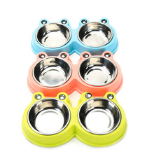 Pet Supplies Dog Cats Double Food Bowl Stainless Steel Pet Bowl Combo Dog Supplies Pet Food Dish Water Feeder
