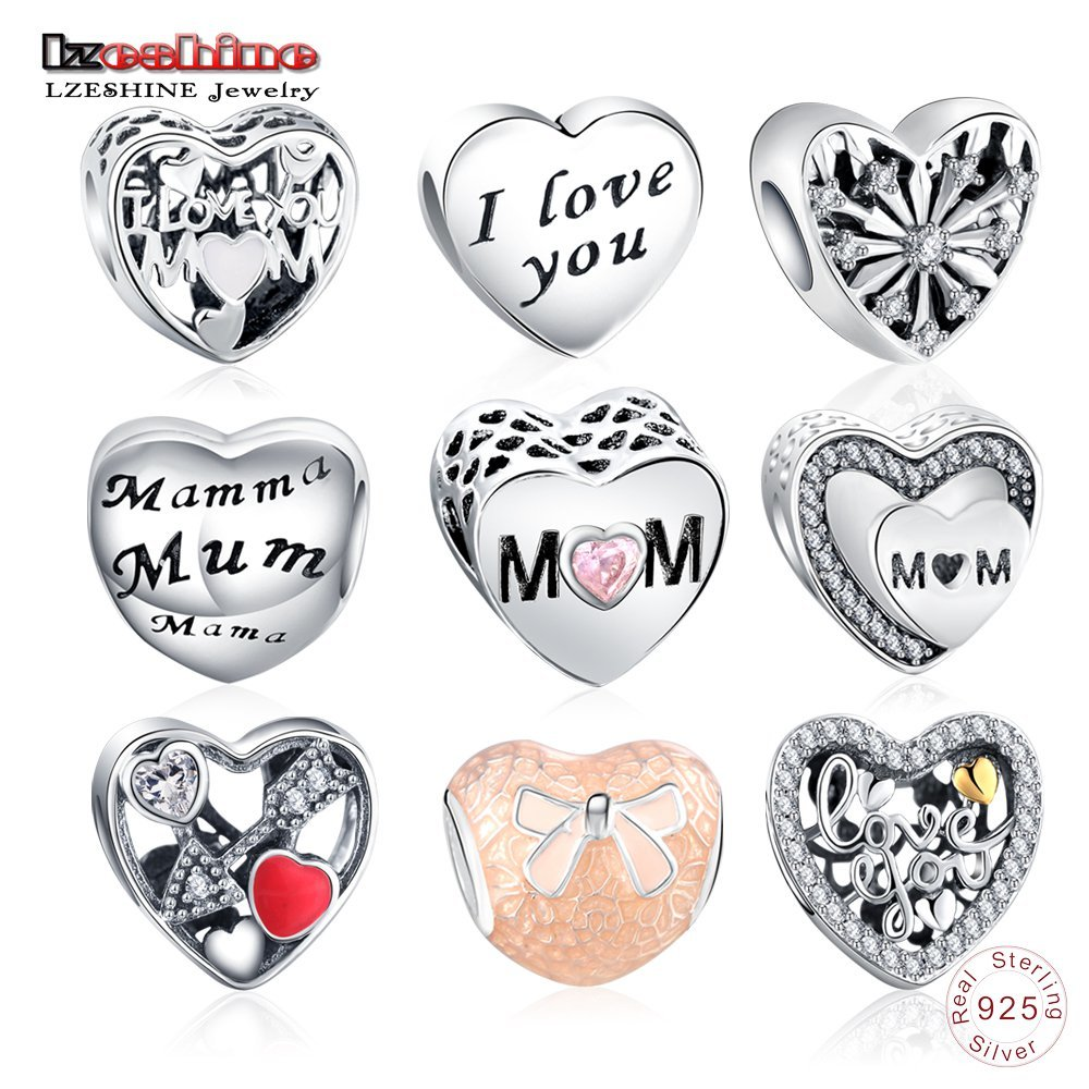 LZESHINE Mothers Day Gift 100% 925 Sterling-Silver-jewelry Charms Loving Heart Beads Fit Original Pandora Charm Bracelet