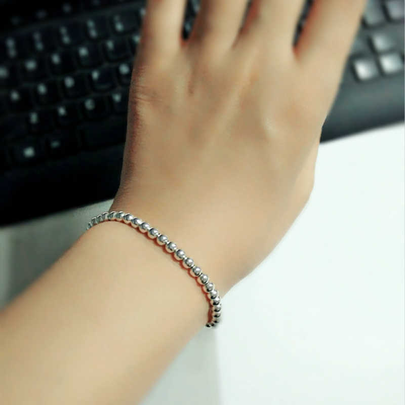 High Quality Fashion Charm Bracelets Famous Silver Color 4MM Round Beads Brand Bracelet for woman and men jewelry ZK30