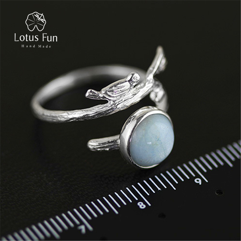 Lotus Fun Real 925 Sterling Silver Natural Aquamarine Stone Handmade Original Designer Fine Jewelry Vintage Female Rings Bijoux
