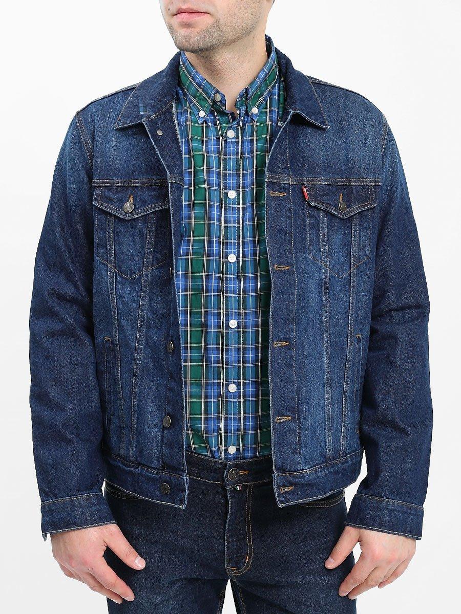 The jacket is man's, Blue denim 281 ripped casual denim shirt jacket