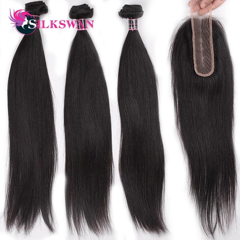 Kim K Closure 2x6 Lace Closure With 3 Bundles Human Hair Extensions Peruvian Remy Straight Human