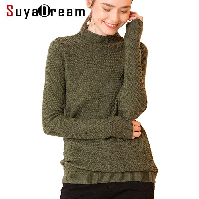 100% mulheres Pulôveres de Lã de malha Camisola de Gola Alta 2018 OUTONO Inverno Assentamento camisa de malha Exército Verde