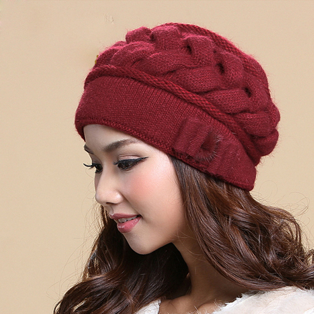 Female Skullies Beanies Hat Women S Winter Knitted Hats Double Layer Thermal  Rabbit Fur Caps Wool Hat 59728befc0a