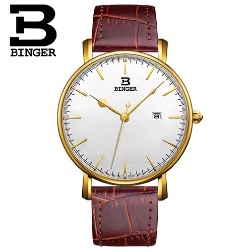 Binger Wristwatch Sport Watches for Men Dashboard Dial Switzerland Quartz Movement Watch with Date Designer Gold