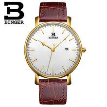 Binger Wristwatch Sport Watches for Men Dashboard Dial Switzerland Quartz Movement Watch with Date Designer Gold Watches