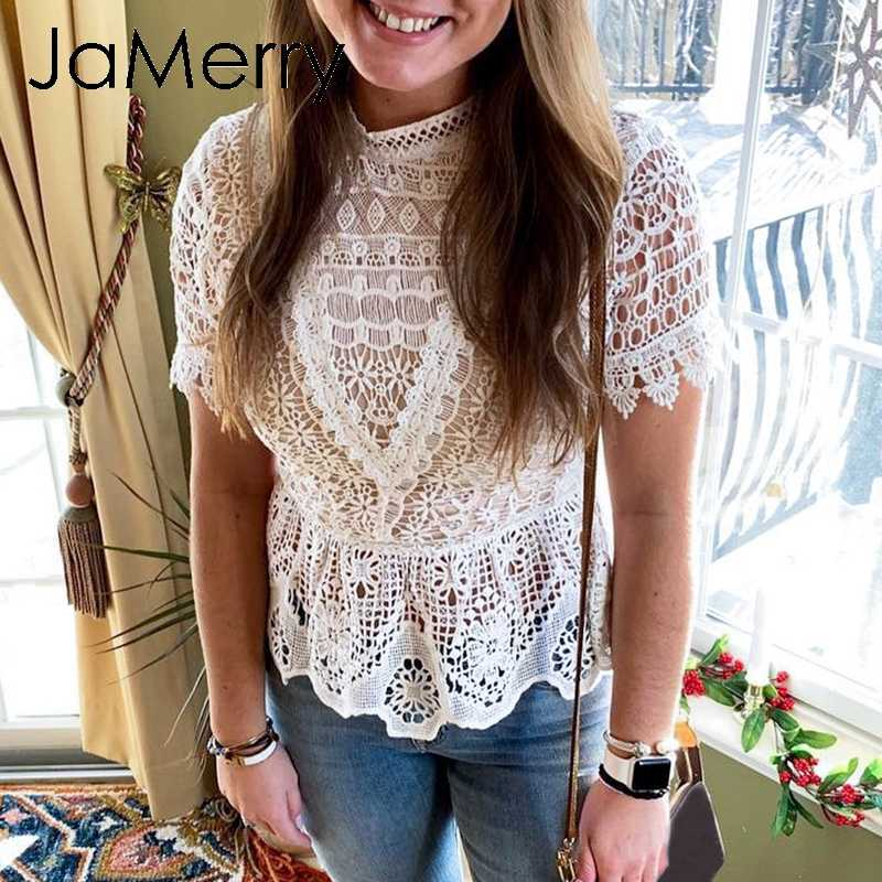 JaMerry Vintage white lace embroidery women blouse shirt Short sleeve hollow out peplum top shirt Summer yellow blouse 2019