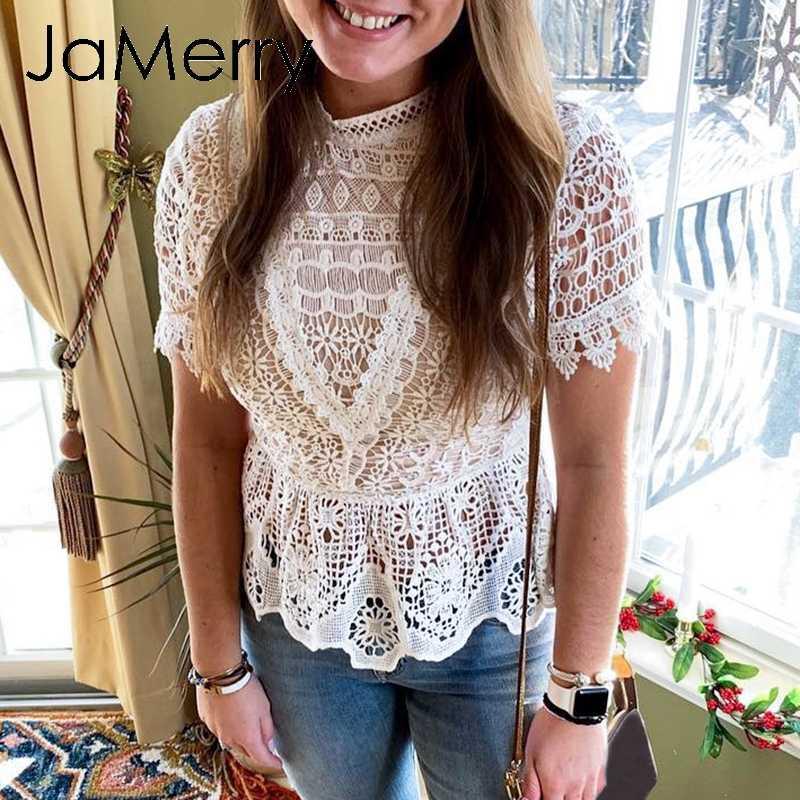 JaMerry/винтажная белая кружевная женская блузка с вышивкой, рубашка с коротким рукавом, открытая рубашка с баской, летняя желтая блузка 2019