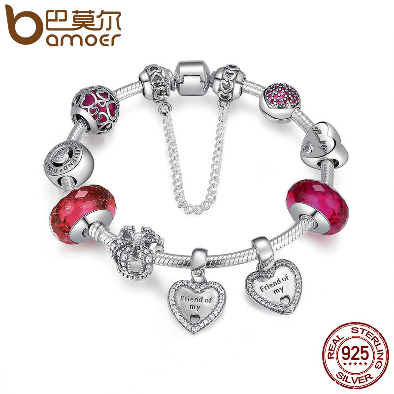 925 Sterling Silver Friendship Forever Heart Pink CZ Safety Chain Women Charm Bracelet Sterling Silver Jewelry PSB014 925 sterling silver friendship forever heart pink cz safety chain women charm bracelet sterling silver jewelry psb014