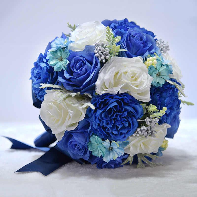 JaneVini Royal Blue ช่อดอกไม้สำหรับคู่แต่งงาน Brides สีขาวประดิษฐ์ Rose ดอกไม้งานแต่งงานช่อ Ramos Novia Con Cristales 2018
