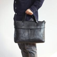 LANSPACE genuine leather men's briefcases cow leather bag men high grade messenger bag
