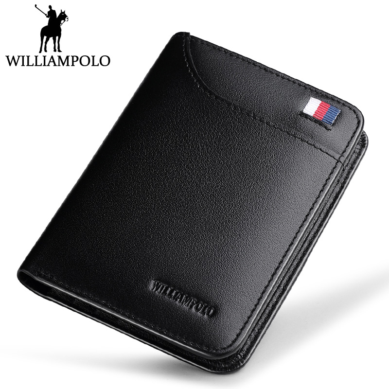 WilliamPOLO Short Wallet Men Genuine Leather Purse 3-Folds Small Wallet Blue BLack Brown williampolo small wallet zipper purse genuine leather men wallet mini short pouch black brown blue 2018 trendy style