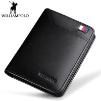 WilliamPOLO Short Wallet Men Genuine Leather Purse 3 Folds Small Wallet Blue BLack Brown