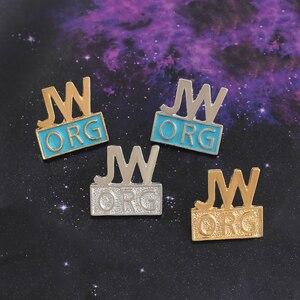 4 цвета JW. Орг, брошь из эмалированного сплава в христианском стиле, Джинсовый Рюкзак с пуговицами, значок для мужчин и женщин, ювелирные изде...