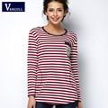 Camiseta femme inverno tshirt longo da luva das mulheres camiseta womens tops moda 2016 poleras de mujer tarja t-shirt camisetas mujer