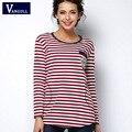 Camiseta femme invierno camiseta de manga larga camiseta de las mujeres tops para mujer moda 2016 poleras de mujer camiseta de la raya camisetas mujer