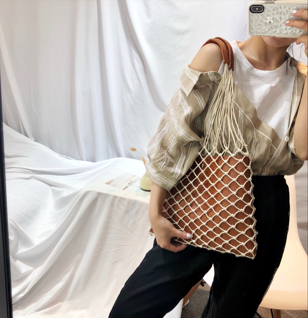 Designer Casual Hollow Net Flap Bag Pu Leather Hollow Women Shoulder Bag Hemp Rope Woven Handbag Bohemian Beach Bag Lady Handbag 4