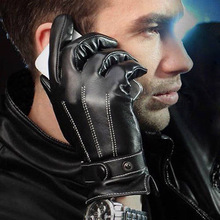 2015 New Hot Chic Luxury Mens Faux Leather Autumn Winter Warm Cashmere Lining Motor Cool Gloves M L XL