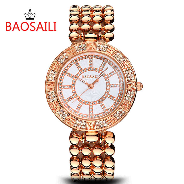 BSL968 BAOSAILI Brand Silver Beads Bracelet Watch Women High Quality Alloy Band