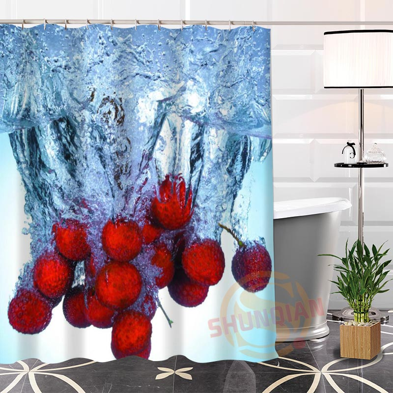 Eco Friendly Fruit Water Fabric Modern Shower Curtain New Custom Unique  Bathroom Waterproof(China