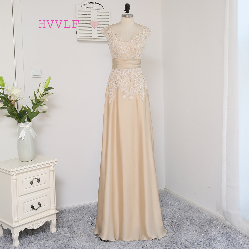 HVVLF Champagne Evening Dresses 2017 A-line Cap Sleeves Chiffon Appliques Elegant Long Evening Gown Prom Dress Prom Gown