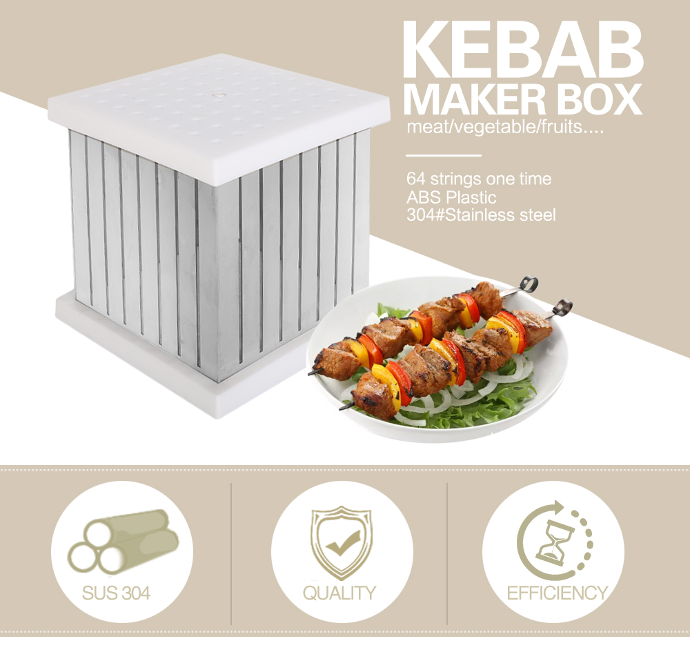 ITOP BBQ Tools 64 Shewers Kebab Maker Box Stainless Steel Rapid Wear Meat Brochettes Skewers For BBQ Outdoor Kitchen Tools