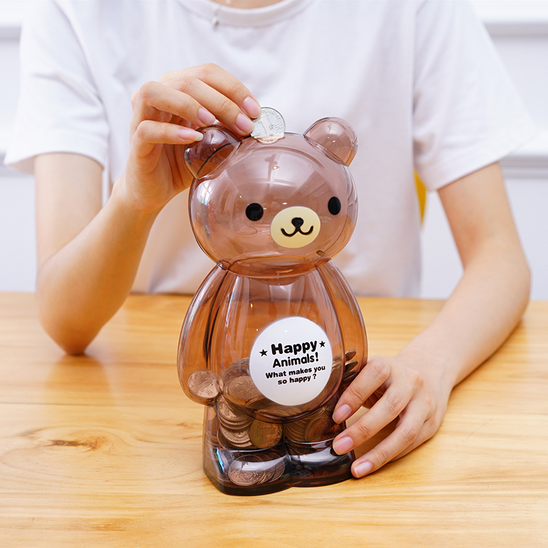 Portable Cute Bear Frog Animal Plastic Cash Coin Money Box Children Toy Kids Gifts Home Decor Collection