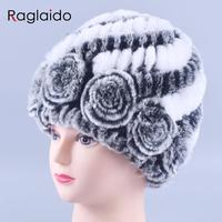 Winter Fur Hat Rabbit Fur Women Warm Fashion Lady Beanie Hat Handmade Knitted Hat Headwear Gorro