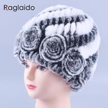Winter fur hat Rabbit Fur Women Warm fashion Lady Beanie Hat Handmade knitted hat headwear gorro Caps girls fur cap LQ11144