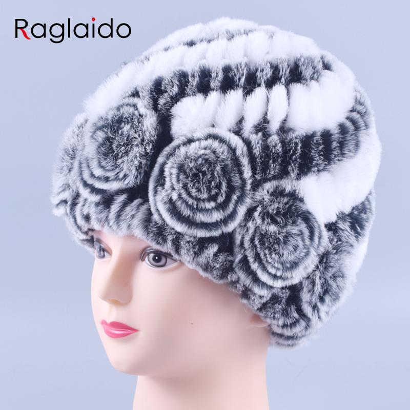 Sombrero de piel de invierno Conejo de piel de las mujeres de moda caliente Lady Beanie sombrero hecho a mano sombrero de punto gorro Caps niñas casquillo de piel LQ11144