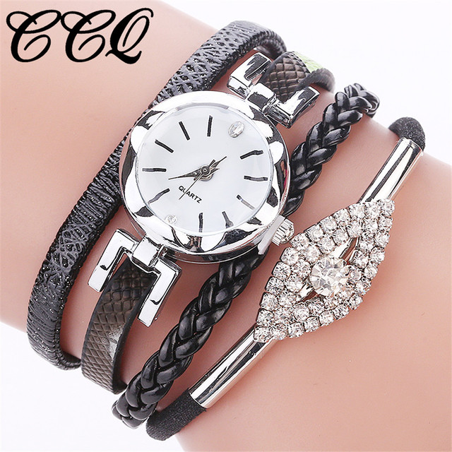 CCQ Fashion Women Eye Gemstone Bracelet Watch Luxury Female Quartz Leather Dress