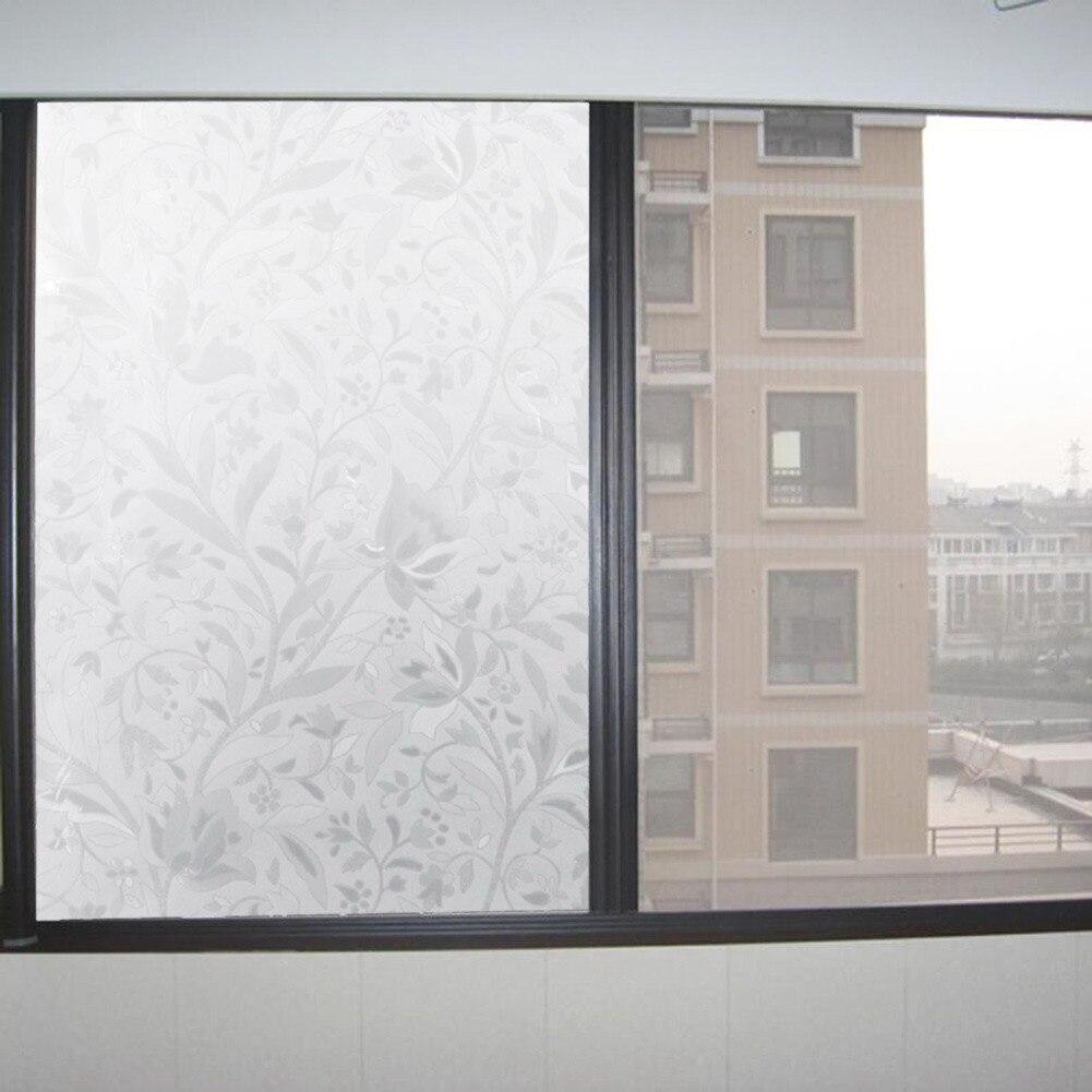 Elegant flower vine texture Self Adhesive Static Privacy static-free gel Glass Window Film Thermal Insulating Stick 45x100cm  metalowe skrzydła dekoracyjne na ścianę