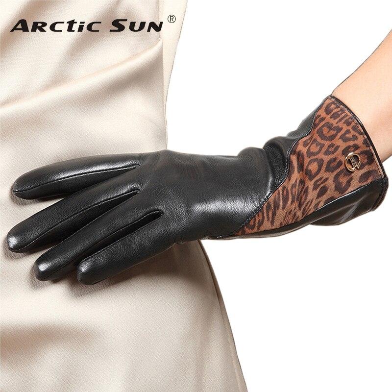 Gants en cuir véritable femme conduite Nappa haute qualité gants en peau de mouton chaud en peluche doublé hiver femmes mitaines EL047NC2