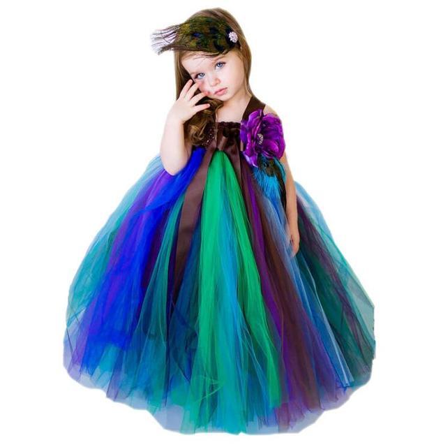 Baby Mädchen Partei Kleid Pfau Mischungsfarbe Designs Ballkleid ...