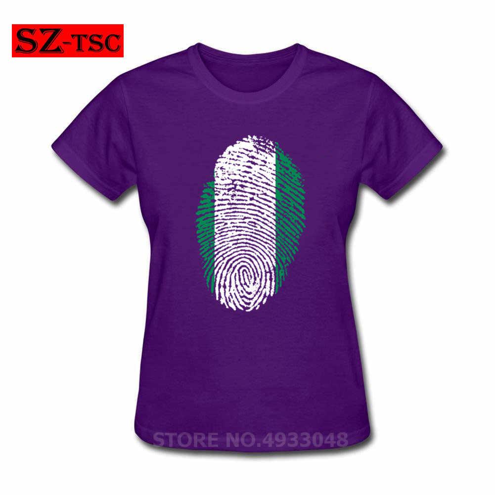 Nigeria Bandiera di Impronte Digitali t Delle Donne della camicia di Stampa T-Camicette Moda Femminile O-Collo 100% cotone Magliette top maglietta femme divertente t Camicette