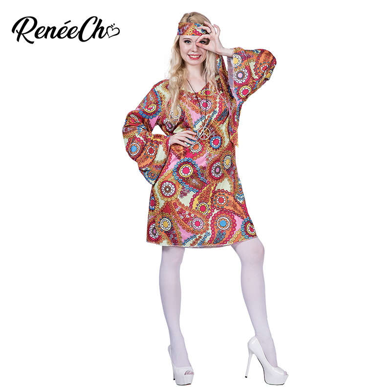 2019 New Halloween Costume For Women Feelin Groovy Disco Dress Costume Adult Peace And Love Hippie Costume Party Cosplay