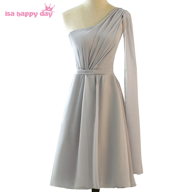 bridesmaid   sexy hot womens one shoulder bridemaids robes party   dresses   gray   bridesmaids     dress   chiffon for weddings H4265