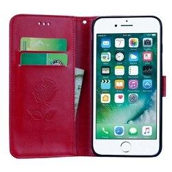 For Fundas iPhone 8 Plus Cover Leather Case Flip Cover For Coque iPhone8Plus Rose Floral Case For Case iPhone 8 Plus Phone Etui 4