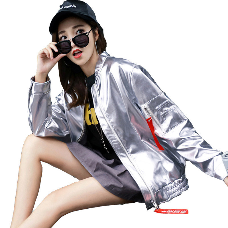 2019 New Spring Women   Leather   Jacket Fashion Bright Korean Version Loose Outerwear Autumn Trend Wild Bf Style Ladies Coat Lj460