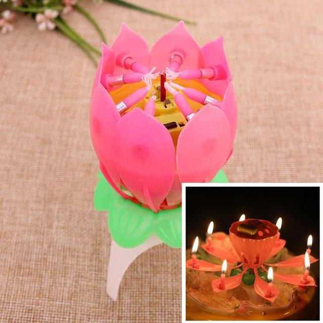 1PC Birthday Candle Romantic Music Musical Blossom Lotus Flower Pink No Revolving Sparkle Cake