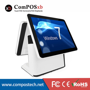 Free Shipping dual 15 Inch dual  Flat touch Screen POS All In One Cash Register For Restaurant POS System