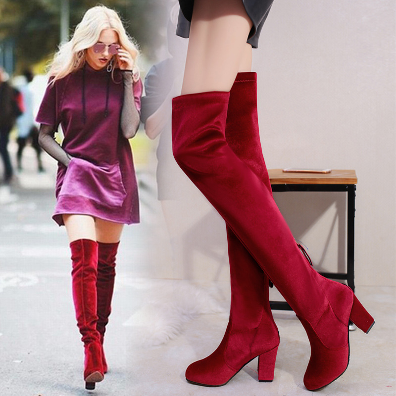 Women Fashion Over Knee Boots Suede Block Heels Plus Size Casual Solid New Shoes