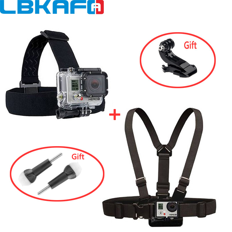 LBKAFA Adjustable Elastic Head Chest Body Harness Belt Strap Mount For Gopro Hero 6 5 4 3+ SJCAM SJ4000 SJ5000 SJ6 SJ7 M20 YI