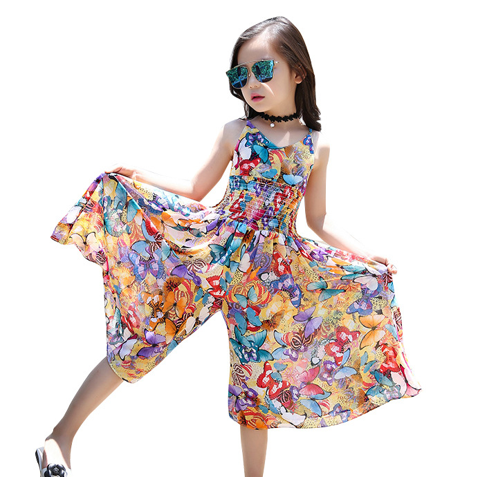 Kids Girls Boho Floral Print Beach Sun Dress Wide leg Pants Playsuit Jumpsuit