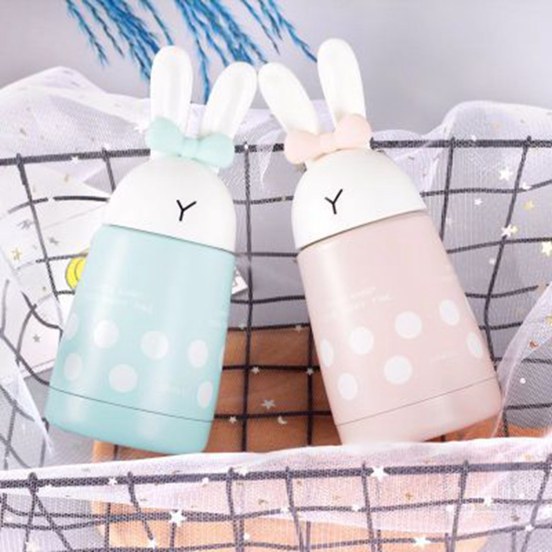 300ml Cute Rabbit <font><b>baby</b></font> Feeding Cup Milk Thermos Girls Insulated Drinking Bottle Stainless Steel Thermal Cup leak-<font><b>poof</b></font> image