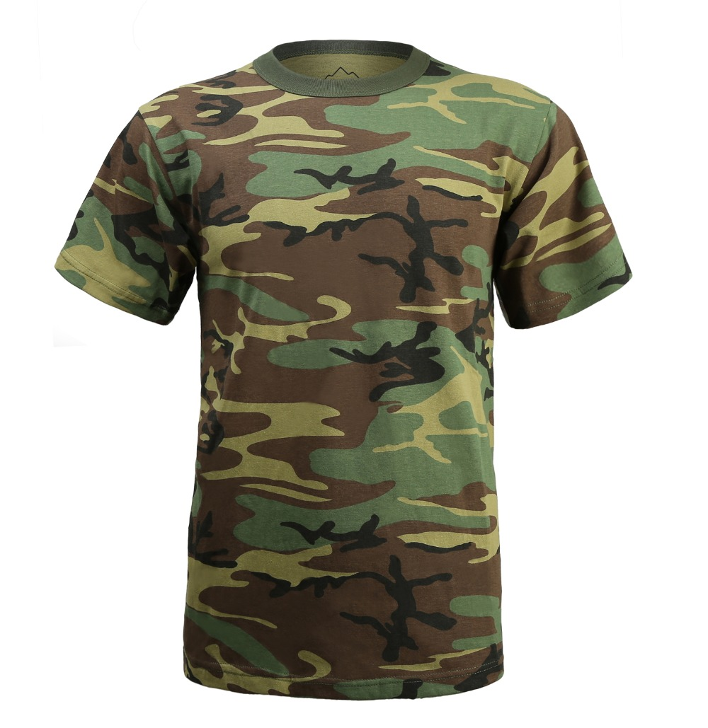 390f6ce42bc New Mens Army Military Outdoor Gym Training Boot Camp Woodland Camo T-SHIRT  Tee