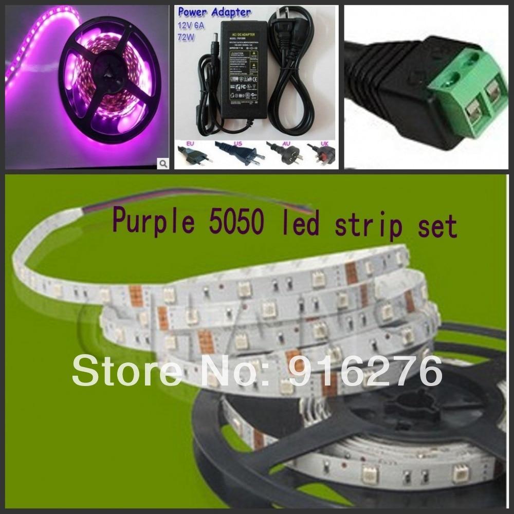 ФОТО 16.4ft 5M UV Ultraviolet 5050 SMD Purple 300 LED Flexible Strip Tape Light 12V + 12v 72W power supply + a DC plug free shipping