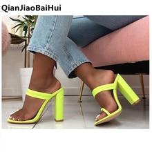 2019 new Designer women slides high heels flip-flops shoes thick heel womens sandals Green heeled mules casual szie 9