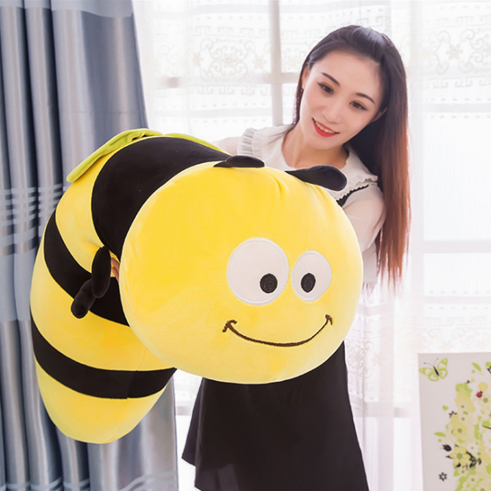 Fancytrader Lovely Animal Little Bee Plush Doll Stuffed Cartoon Yellow Honeybee Toy Pillow Gift for Kids 35inch 90cm fancytrader 120cm super lovely jumbo plush shar pei dog toy large dog doll sleeping pillow gift for child free shipping ft50048