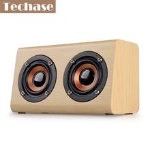 Techase Parlantes Bluetooth Portable Speaker Caixa De Som Para PC Haut Parleur Bluetooth Wooden alto falante TF Card/AUX-IN HiFi